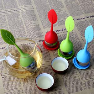 Infusor de té de silicona 8 colores Hoja Infusor de silicona Tamices de acero inoxidable de grado alimenticio Hacer filtro de té Difusor casero Herramientas de té BH1955 ZX