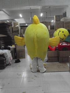 패션 무료 배송으로 도매 높은 품질 뜨거운 노란 물고기 마스코트 옷 입히기 성인 문자 의상 마스코트