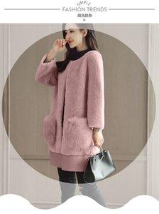 Пальто сдвиженные роскошные зимние женщины длинные теплые верхняя одежда серая розовая куртка женщина овец взлетно-посадочная полоса искусственного женского сырая шерстяная 2021 меховая пальто Trenc Hceg