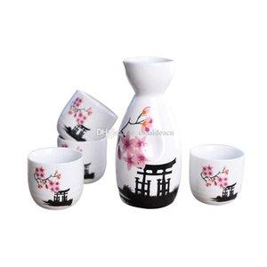 Japanische Sake Set handgemaltes Kiyomizu-Tempel und Kirschblüten-Keramik-Weinflasche Becher Elegante Sake Trinkgefäße Oriental Geschenke