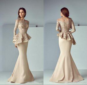 Champagne Lace Mancha Peplum desgaste Prom vestidos de festa 2020 New Sheer Long Neck Sleeve Dubai Árabe Mermaid longo vestidos de noite formais 716
