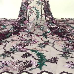 Madison African Lace Fabric 2019 Lentejuelas de alta calidad con bordado Nigerian Lace Fabric para mujer French Mesh Lace Fabric