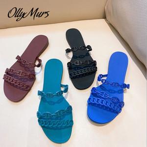 OllyMurs Nueva PVC Cadena zapatillas punta abierta de banda estrecha Pisos aire libre zapatos de los deslizadores de las mujeres