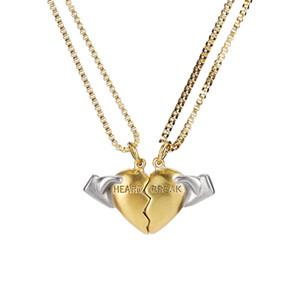 Gioielli hip hop per coppia Broken Heart Collana con ciondolo di moda Charm Love Gold Silver Twisted Chain