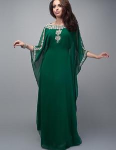 Fancy Dubai Islamic темно-зеленый шифон Вечерних платьев мусульманской блестки бисер кристаллы специального случай платье Arabic Кафтан партия мантии