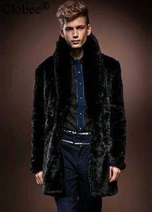 Brand 1 Men Style Winter Autumn Long Outerwear Coat Solid Black Boy Faux Fur Coat Fur Collar Jacket YY1031