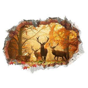 3D Wall Sticker Animal Elk Forest Leaves Pattern Dinning Room Festival Home Decor Wall Art Murals