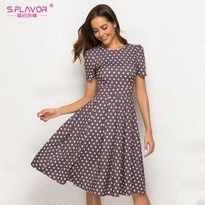 Fashion-S. FLAVOR Retro Polka Dot Print Women Dress 2019 Women Short Sleeve Vintage O Neck Summer Dress Sexy A Line Party Vestidos De