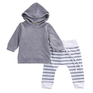Autumn Warm 2PCS Baby Gray Clothing Boys&Girl Hooded Tops Sweatshirt Pants Outfit 0-24M