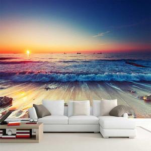 Dropship romántico estéreo Mar Beach el paisaje de fondo de pantalla en 3D Foto Mural Sofá comedor Habitación Telón de fondo murales Decoración