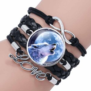 Black Color Gothic Wolf Moon Glass Dome Charm Bracelet Bangle Jewelry Love Boy Men Handmade bangles will and sandy via DHL
