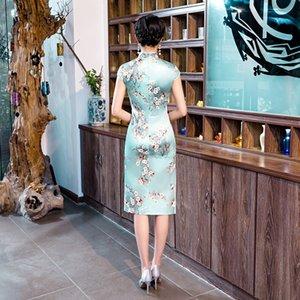 modello di fiore di seta cinese cheogsam elementi tradizionale fascino retrò amazon stile caldo manica corta sopra il ginocchio