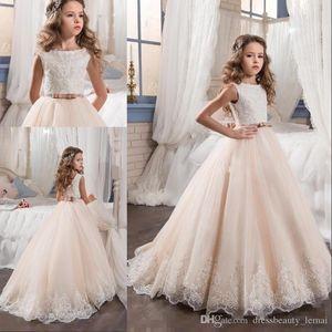 2020 Vintage Blumen-Mädchen-Kleider für Hochzeiten Erröten Rosa nach Maß Prinzessin Tutu Sequined Appliqued Spitze-Bogen-Kinder Erstkommunion Kleider