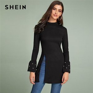 Hendidura Shein Negro con cuentas volante de la manga lateral tee mujeres otoño del resorte de manga larga del collar del soporte sólido camisetas largas elegantes