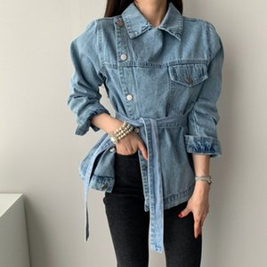 Korean Style Brand New Classic Denim Jacket Female Irregular Tops Waist Belt Lace slim Women Coat Long-sleeve Fashion Streetwear
