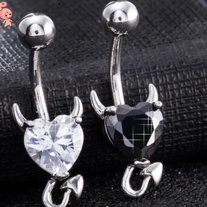 bouton nombril en acier inoxydable bagues bijoux diable litière coeur cloche anneaux pour les femmes de la mode chaud
