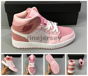 Yeni Ucuz 1 Orta WMNS Dijital Pembe Kadınlar Sneakers 2020 Basketbol Ayakkabı Tasarımcısı Kız Sepetleri 1s des chaussures zapatos