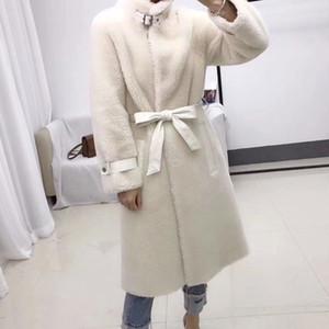 2019 Winter echten Pelz Schafpelzjacke Frauen Harajuku Schafe mit Gürtel Stehkragen Parkas Wollmantel outwear Scheren