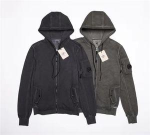 Topstoney ZIP CAPUCHE Zipper capuche en coton M-2XL Veste pour hommes et femmes CP entreprise de lavage et vieillissement tissu de coton pur