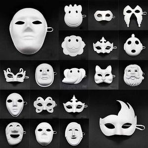 Vente en gros blanc Unpainted Masque Version papier ordinaire Blank Pulp Masquerade Masque Journée des enfants bricolage main Pulp Masque 20 de style DHL