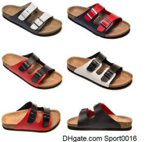 bokon 2020 New style Cork Slippers With Buckle for men and women Flat Sandals Brik Casual Summer Genuine Leather Slippers size 35-46 OIXJ