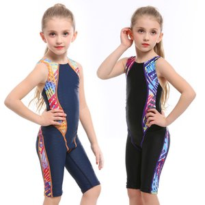 New Children Swimwear Cute Professional Swimming Suit For Girl Competition Swimsuit Competitive Swimwear Kids Knee Swim Suit