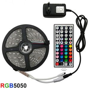 5M 10M 15M Conjunto completo Faixa de LED Luz LED RGB 5050 SMD fita flexível 2835 RGB Stripe 5M 10M 15M fita diodo DC 12V + controle remoto + adaptador