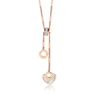 Chaîne de clavicule en acier de titane de haute qualité des femmes de haute qualité de collier en or rose cercle avec des chiffres romains or 3 - GX1477