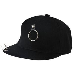 Hip Hop Baseball Cap Black Sling Side Pin Chain Punk Rock Style Piercing Ring Sport BreathableBone Masculino Skull Jazz Dad Hat