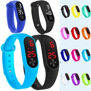 Moda erkek kız çocuklar çocuklar öğrenciler spor dijital led saatler yeni erkek bayan açık plastik bant hediye promosyon bilek saatler