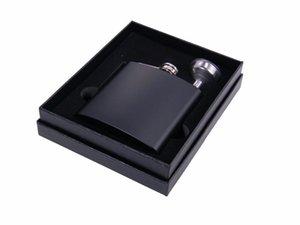 سوداء 6oz قارورة الفولاذ المقاوم للصدأ الورك في علبة هدية سوداء التعبئة رغوة الداخلية DHB345