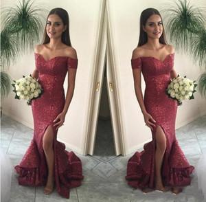 2019 New Bling Bling Borgonha Sexy Off Ombro Lantejoulas Longo Da Dama de honra Vestidos de Festa À Noite Vestir Formal Vestidos de Sereia Vestidos de Baile 048