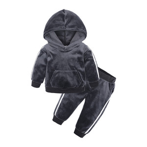 Herbst Winter Kinder Kleidung Set Velvet Hooded Sweatshirt Sport Cute Baby Kleidung Sets Wing Ear Designer Kleidung HHA724