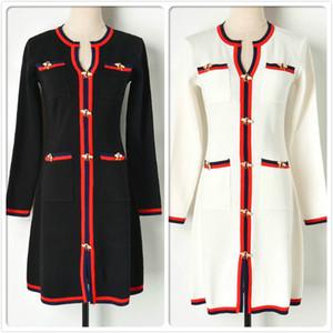 Commercio all'ingrosso inverno a righe Vestito lavorato a maglia Per l'autunno delle donne manica lunga maglione Fashion Dress Ufficio Affari signora Slim Dresses ricamo
