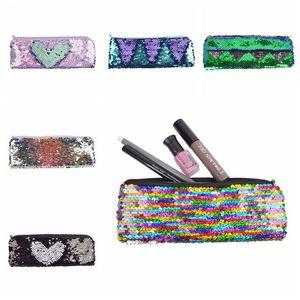 Mermaid lentejuelas maquillaje bolsa de maquillaje para mujeres linda caja de lápices estudiante cremallera embrague bolso de almacenamiento cosmético bolsas de lápiz CCA11870-C 120pcs