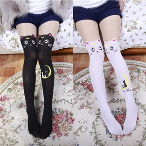 Sexy Cute Women Cartoon Cat Print Stockings Fashion Stretch Over Knee Thigh High Stockings Girl Student Stockings
