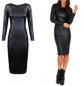 vestiti Vestito aderente donne del cuoio Vestito aderente vestito dalla fasciatura Vestiti PU nero sexy delle donne casual in pelle