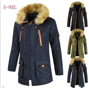 Mens Jacket Long Windbreaker Cotton Insize Fashion EU Style Slim Men Women Jacket Fur Winter Warm Thick Coats Zipper Jackets Parka Hooded