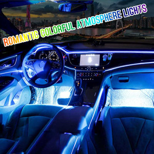 Led Car Interior Ambient Mood Light RGB Backlight App Remote 3mm Optical Fiber Auto Decorative Door Dashboard Atmosphere Lights