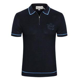 Ca*ste*llo d'Oro short-sleeved T-shirt men's 2019 summer new business fashion zipper British embroidered shirt