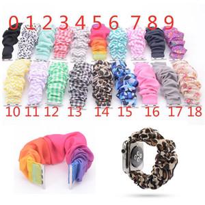 Цветочные Scrunchie ремешок леопард / сплошной цвет / полоса Scrunchie ткань моды запястье 38м 40мм 42мм 44мм для iwatch 4/3/2/1 19 цветов
