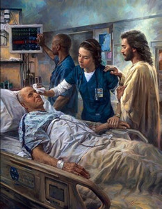 Nathan Greene THE HEALER, Jesus & Nurse in Hospital Room Home Decor HD Print Oil Painting On Canvas Wall Art Canvas Pictures 200109