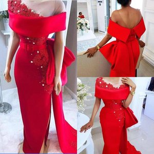 Red Mother Of The Bride Dresses Sheer Jewel Neck Lace Pearls Prom Gowns Floor Length Special Occasion Dresses Side Split Wedding Guest Wear