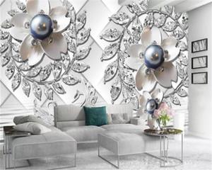 Lusso abitudine 3D Wallpaper Grande Viola perle e diamanti Wallpaper Fiori Swan Lake Arredamento