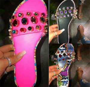 New Summer Women Crystal Slippers Sandals Glitter Flat Soft Bling Female Candy Color Flip Flops Indoor Ladies Slides Hot Beach Shoes D62204