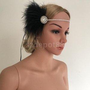 Cadena de 1920 gran Gatsby Negro Vintage pluma perlas Rhinestone de la aleta del vestido de lujo de la venda de Ascot tocado Race