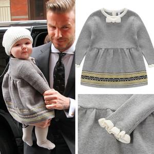 2021 الاطفال ملابس الفتيات سبعة هاربر الطفل الرضع محبوك الأميرة سترة فساتين / الأعلى الخريف طفل الأطفال بوتيك الملابس B158