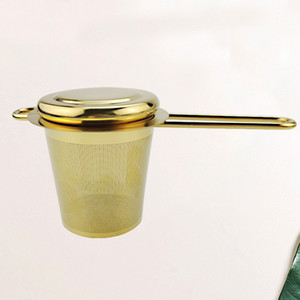 Stainless Steel Gold Tea Strainer Folding Foldable Tea Infuser Basket for Teapot Cup Teaware Wholesale