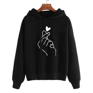 디자이너 BTS는 여성의 후드 스웨터 패션 긴 소매 솔리드 인쇄 심장 BTS 후드 스웨터 Casaul 후드 풀오버 후디