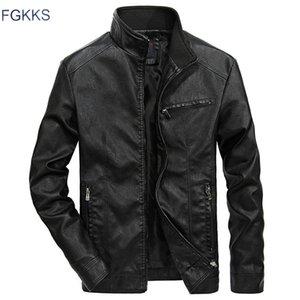 FGKKS otoño invierno chaqueta de cuero de los hombres a prueba de viento chaquetas de cuero de PU de los hombres de la motocicleta de manera masculino chaquetas